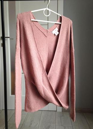 Нежнейший свитер джемпер пудровый л-ка|50% котон