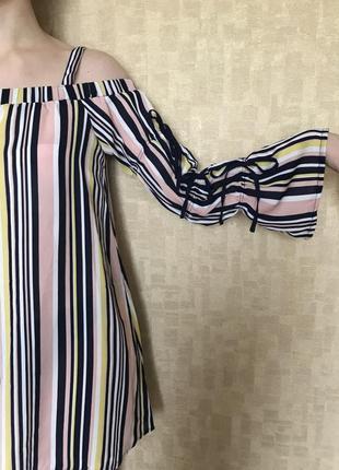 Яркое платье в полоску xs/s