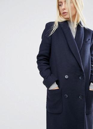 Asos шерстяное пальто плащ куртка s