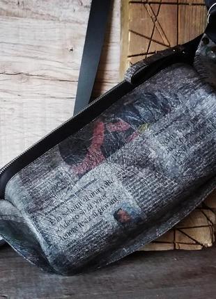 Натуральная кожа. принт газета. бананка оверсайз,  поясная сумка мега размер, мини рюкзак