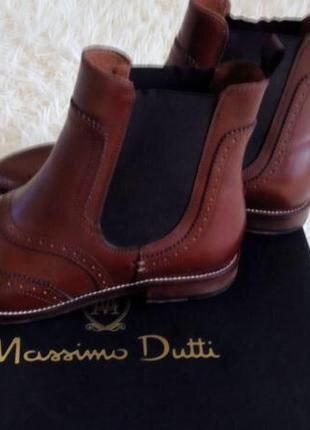 Кожаные ботинки massimo dutti