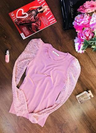 Реглан в розовом цвете с кружевными рукавами, свитшот, гольф, пуловер, s-m.