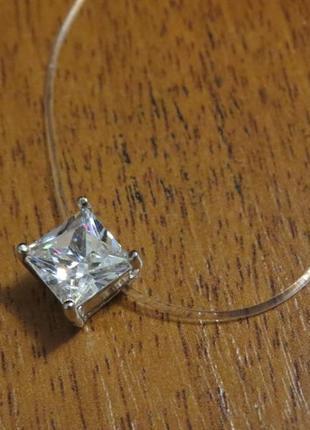 Камушек на леске квадрат цирконий 8 мм невидимое ожерелье