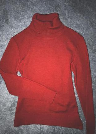 Бордовый свитер гольф