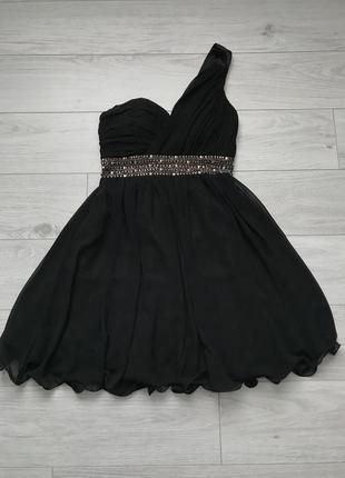 Нарядное праздничное вечернее чёрное платье короткое пышное