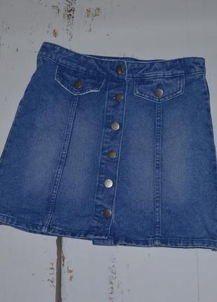 Трендовая джинсовая юбка трапеция denim co 12 размер