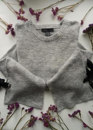 Идеальный oversize свитер с рукавами клеш и завязками,теплый вязаный свитер primark