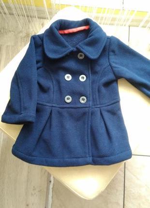 Дуже миле флісове пальто для маленької принцеси m&s, 3-6міс.,69 см.
