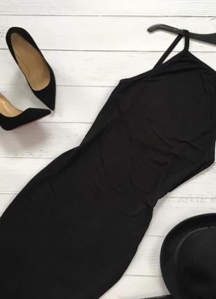 Новое трикотажное утончённое платье на тонких бретелях с приоткрытой спинкой