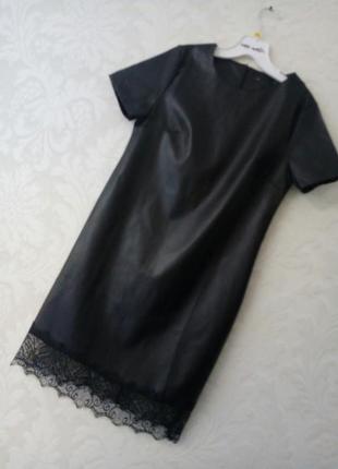 Эффектное кожаное платье с отделкой из кружева +бордо,олива от h&m2 фото