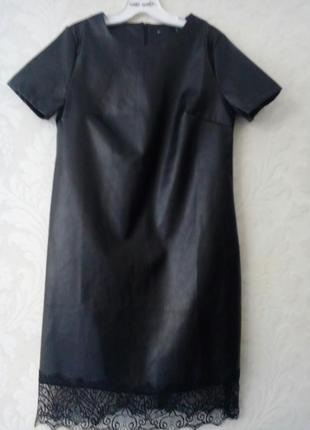 Эффектное кожаное платье с отделкой из кружева +бордо,олива от h&m3 фото