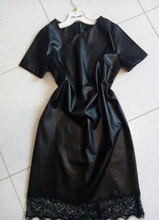 Эффектное кожаное платье с отделкой из кружева +бордо,олива от h&m4 фото