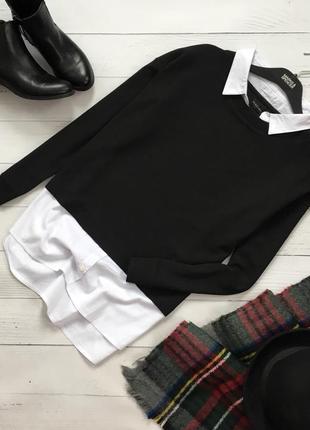 Стильный комбинированный свитшот рубашка peskara