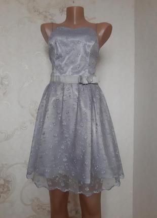 Нереально красивое кружевное платье мини цвета серебро от zara