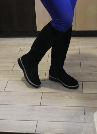 Длинные, шикарные женские сапоги до колена, замш натуральная , высокого качества, с 36-41р