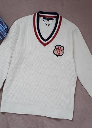 Шикарный клубный вязаный свитер пуловер от tommy hilfiger p.xl