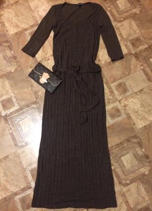 Платье косичка в пол вязаное stradivarius