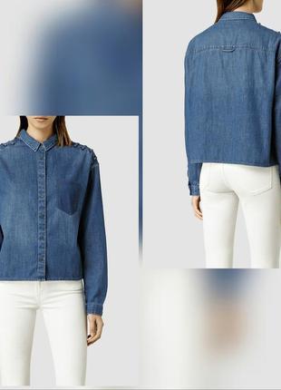 Крутая укороченная джинсовая рубашка кроп all saints