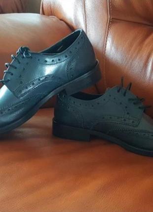 Туфли кожа италия тёмно-серые