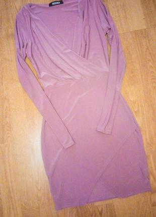 Сиреневое лиловое фиолетовое платье мини трикотажное фирменное стильное