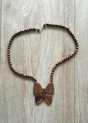 Деревянное украшение, бабочка, ожерелье, бусы, кулон из дерева