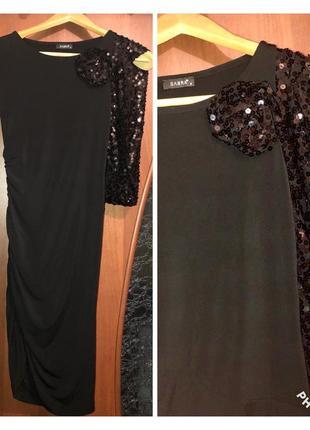 ✨ чёрное платье с паетками на одно плечо от sabra  ✨