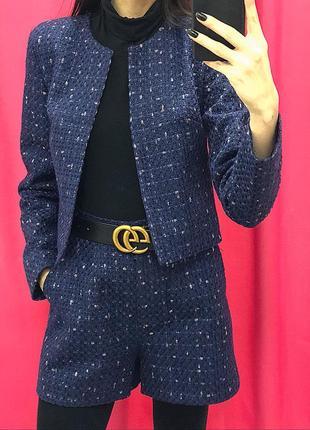Твидовый костюм шорты пиджак твид asos missguided zara