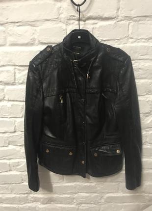 Кожаная курточка stradivarius 100% кожа