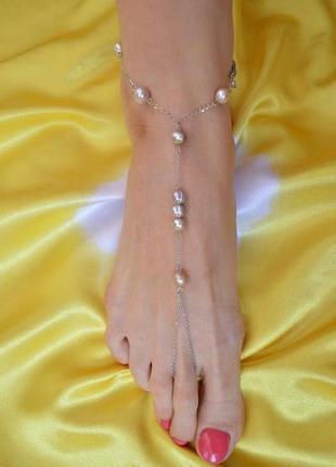 """Слейв - браслет на ногу с лиловым жемчугом """"жемчужный плен"""""""