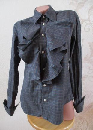 Рубашка/блуза в клетку с жабо/хлопок