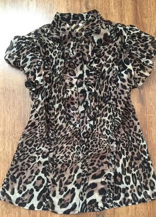 Шикарная трендовая леопардовая рубашка блуза1 фото