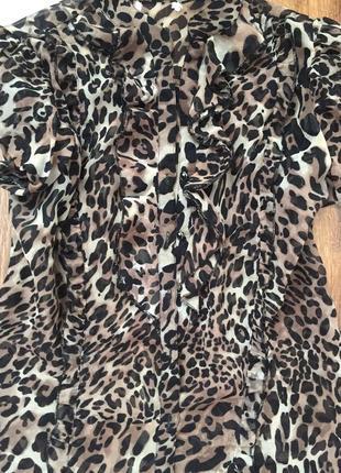 Шикарная трендовая леопардовая рубашка блуза3 фото