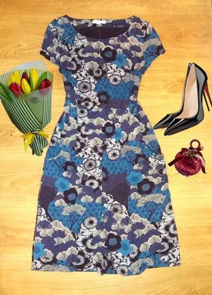 Приятное платье в цветы из вискозы white stuff с карманами размер 14