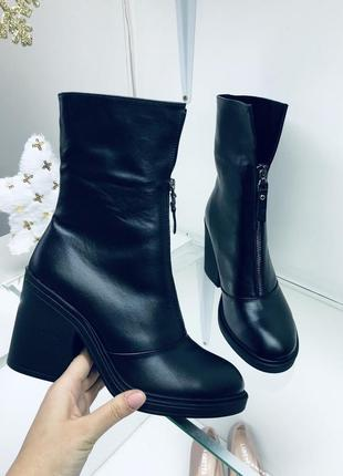 Кожаные зимние ботинки. полусапоги