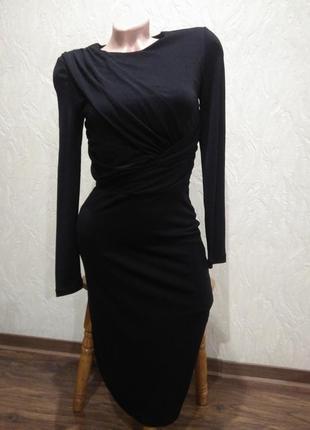 Чёрное миди платье с драпировкой selected femme xs или мелкая s