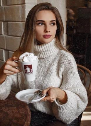 Вязаный женский длинный свитер оверсайз oversize крупная вязка объёмный удлинённый ручная