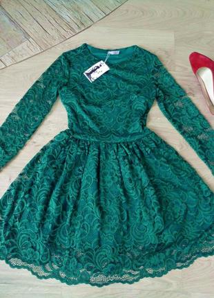 Кружевное изумрудное платье (все размеры и расцветки)2