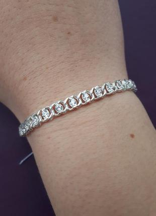 Жіночий срібний браслет з камінцями цирконію