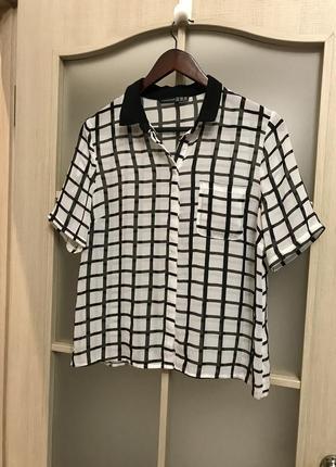 Клетчатая шифоновая рубашка