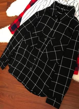 Натуральная теплая рубашка в клетку