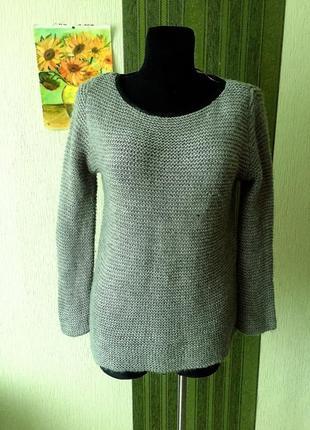 Серый свитер zara с отделкой