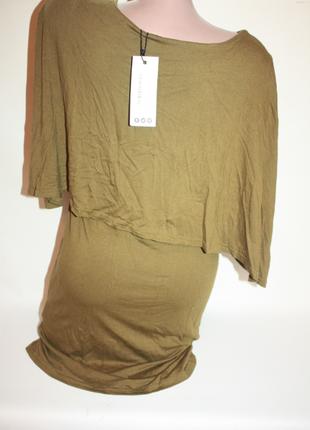 Платье новое хаки, оливковое с воланом, накидкой boohoo 12р (к018)