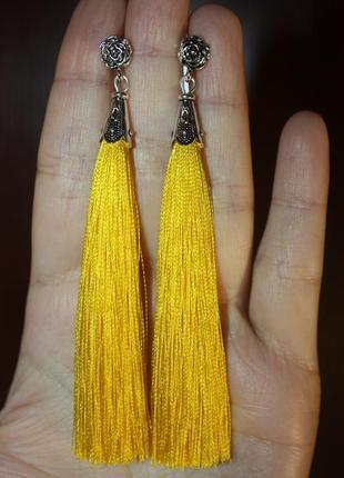 Серьги серёжки кисти кисточки жёлтые длинные бохо с розочкой