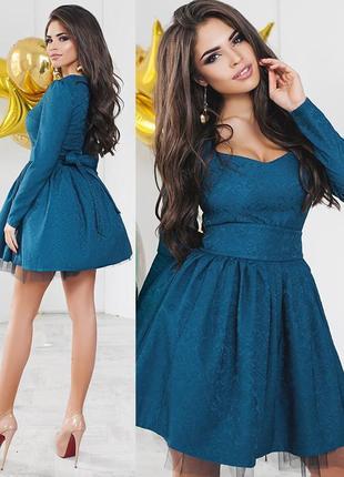 Пышное платье бирюзового цвета (все размеры и расцветки)