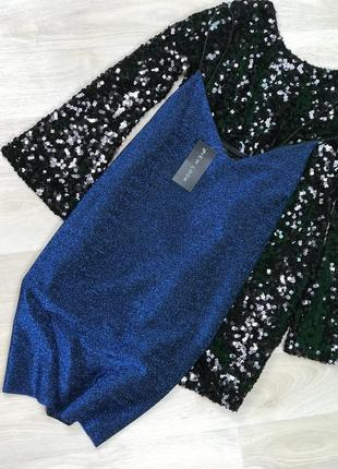Новое синее платье с блеском на бретельках new look