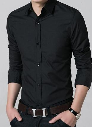 Шикарная приталенная черная рубашка h&m slim р. 164 (13-14лет) новая