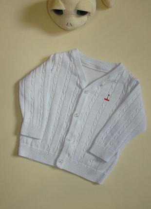Нарядный белоснежный джемпер кофта свитер m&s 9-12 мес