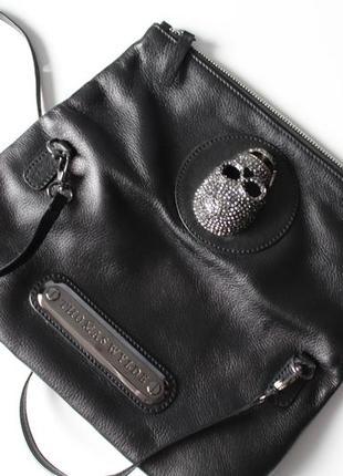 Кожаная сумка, клатч с черепом thomas wylde. новая.