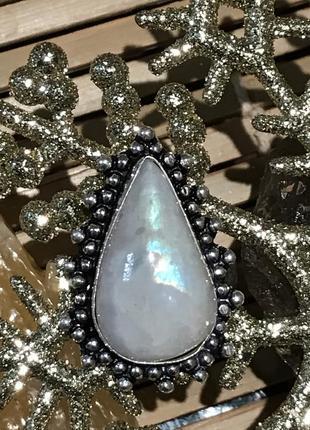 Кольцо с природным лунным камнем, адуляр