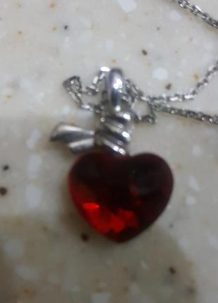 Кулон сердце сваровски на цепочке